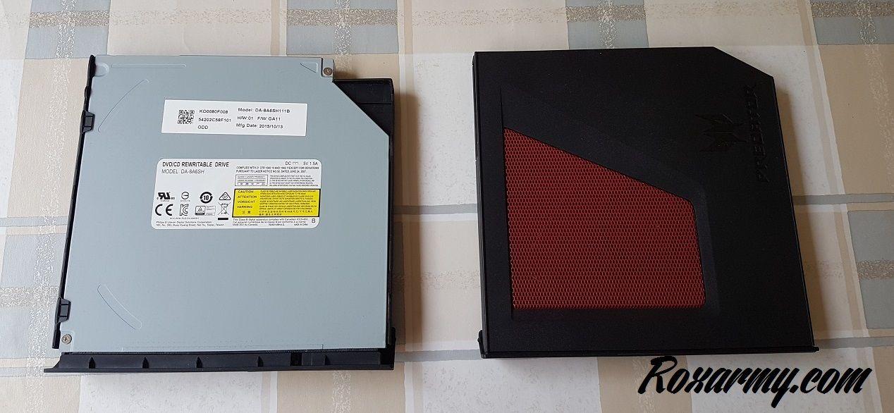 lecteur DVD à gauche, ventilateur à droite